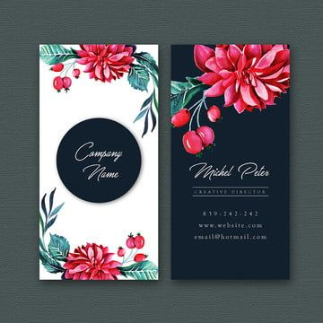 Watercolor Floral Visiting Card Template Watercolor Color Floral Png And Vector With Transparent Background For Free Download Visiting Card Templates Visiting Card Design Floral Business Cards