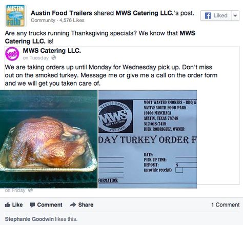 Thanksgiving Dinner from Austin Food Trailers! Native South Food - food order form
