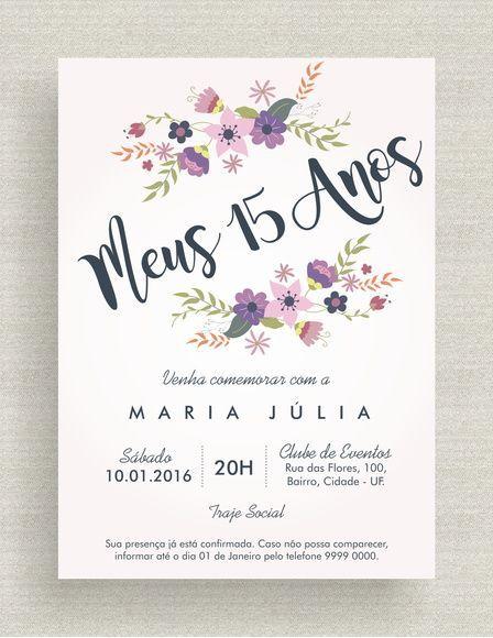 Convites Para Festa De 15 Anos Floral Aquarela 15 Años
