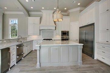 Grey Wood Kitchen Floor grey wood floor, detail tile backsplash, stainless steelestess