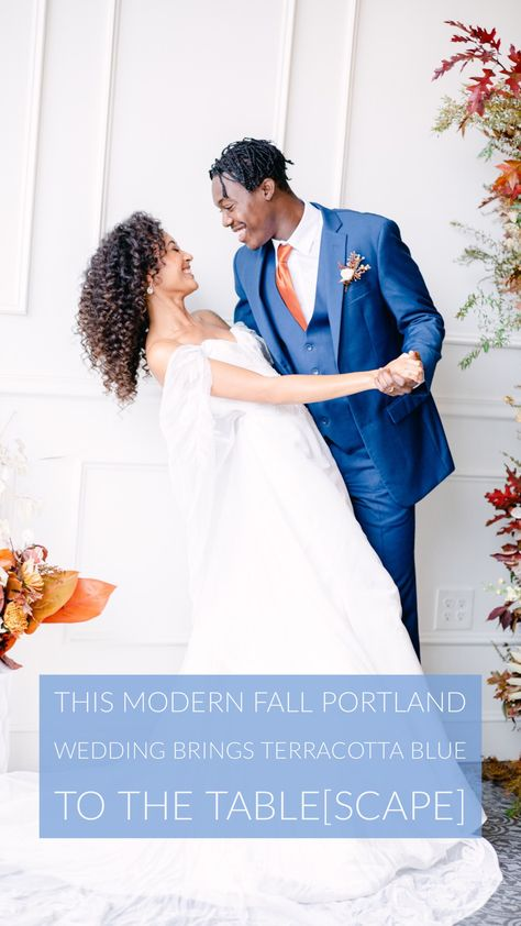 This Modern Fall Wedding Inspiration In Portland Brings Terracotta Blue to the Table[scape] #modernfallwedding #modernwedding #portlandwedding