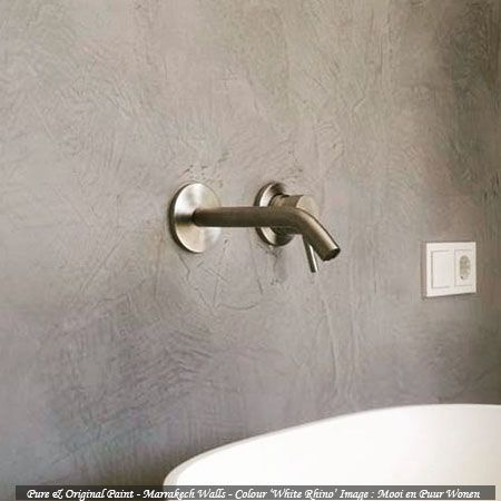 Marrakech Wall In A Bathroom Cool Concrete Look Treated With Eco Sealer For Protection In Wet Areas Pureandorigi Pure Products Diy Plaster Specialty Paints