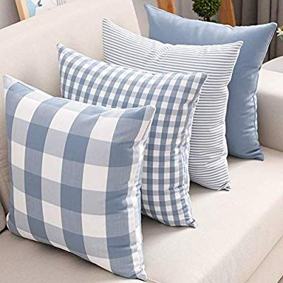 Set Of 4 Throw Pillow Covers For Couch Soft Polyster Cotton Simple Geometric Pattern Decorative Sofa Cushion Co Cushions On Sofa Pillows Quilt Sets Bedding