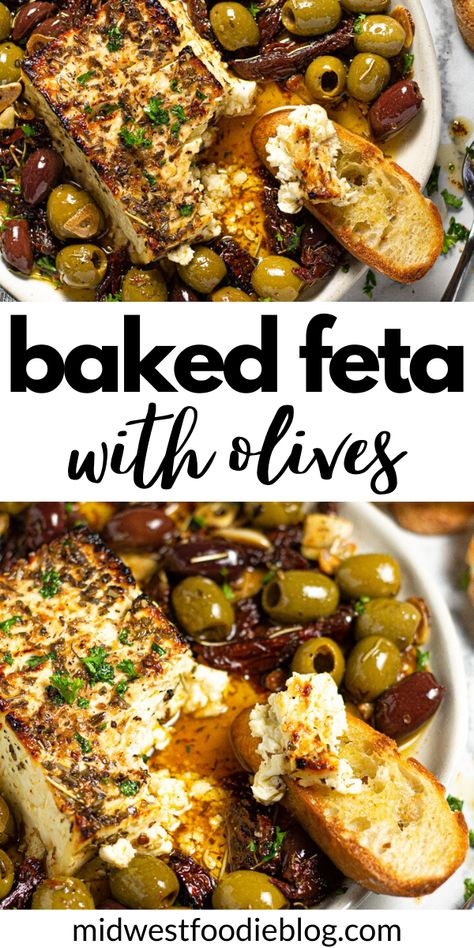 Nibbles For Party, Appetizers For Party, Appetizer Recipes, Diabetic Recipes, Cooking Recipes, Healthy Recipes, Baked Feta Recipe, Easy Starters, Fresh Garlic