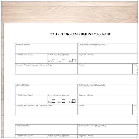 Collections and Debts to be Paid - Tracking Sheet - Printable