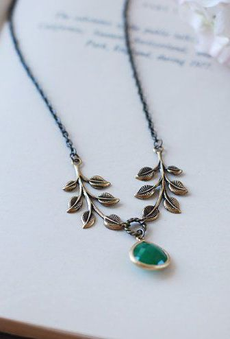 Antique Brass Leaf Gold Framed Emerald Green Drop