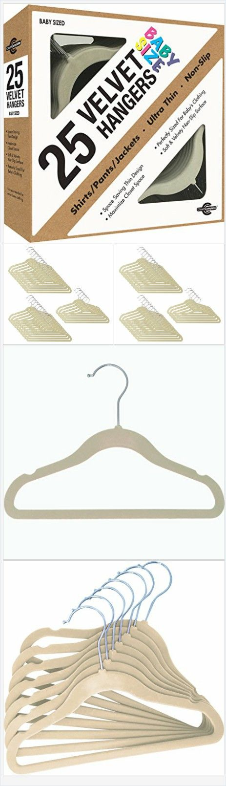 Baby Closet Complete Size Ultra Thin No Slip Velvet Hangers Ivory Set Of 25 New