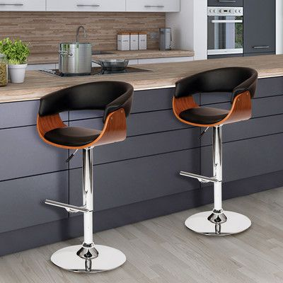 Allmodern Cathrine Adjustable Height Swivel Bar Stool Wayfair In 2020 Bar Stools Adjustable Bar Stools Swivel Bar Stools