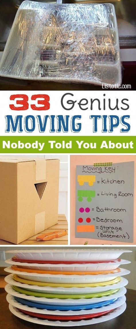 of clever moving and packing tips from Listotic! Very cool tips! Definitely worth looking into if moving.Lots of clever moving and packing tips from Listotic! Very cool tips! Definitely worth looking into if moving. Organisation Hacks, Organizing Tips, Organizing For A Move, Bedroom Organization, Move On Up, Big Move, Do It Yourself Inspiration, Style Inspiration, Packing To Move
