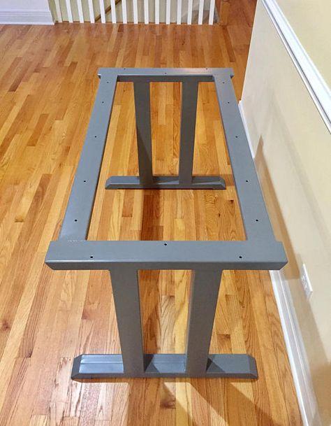 Roman Style Design Table Base, Heavy Duty Sturdy Steel Base, Set of 2 Legs With 2 Upper Cross Braces