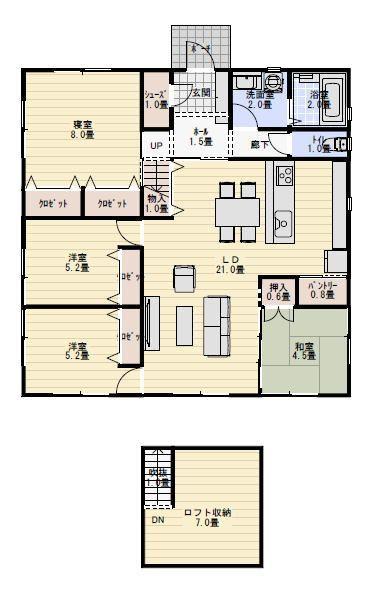 30坪4ldkロフト収納のある平屋の間取り 平屋間取り 間取り 35坪