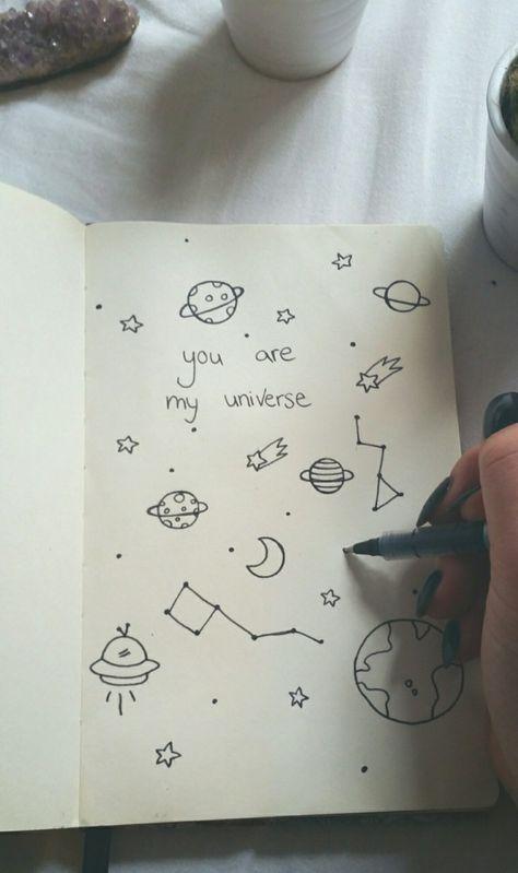 journal-l-universe-dessins-petits-planettes-dessin-en-perspective-apprendre-a-dessiner-art-simplifié-avec-crayon