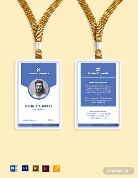 Simple Construction Id Card Template Free Pdf Pdf Word Indesign Apple Pages Illustrator Employee Id Card Id Card Template Business Plan Template Word
