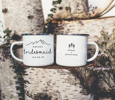 Bridesmaid Mug Maid of Honor Mug Camp Mug Bridal Party Campfire Mug Bridesmaid Proposal Gift Bridesmaid Mug Bride Mug Mountain Wedding Features: -Size: 10 oz. Fluid -8cm tall x 8cm wide -Material: Metal, Cast Iron with Stainless Steel Rim -Care: Not recommended for dishwasher. *DO NOT MICROWAVE*