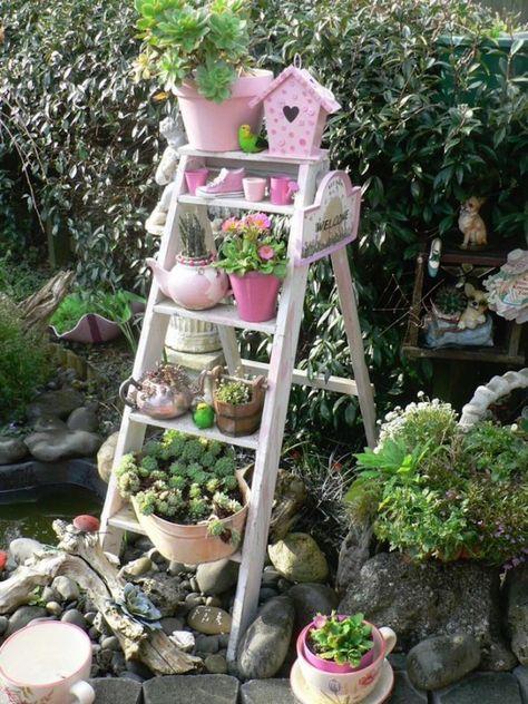 Aménagement jardin   déco jardin   Pinterest   Escabeau en bois ...
