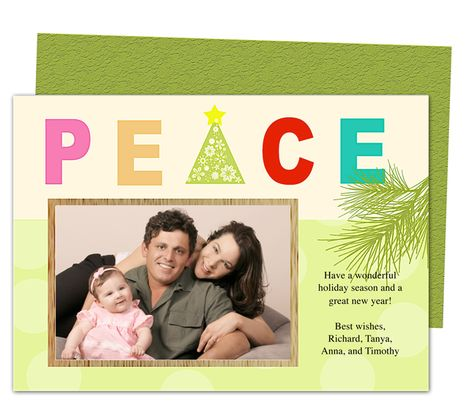 Photo Cards : Peace Christmas Holiday Photo Card Template
