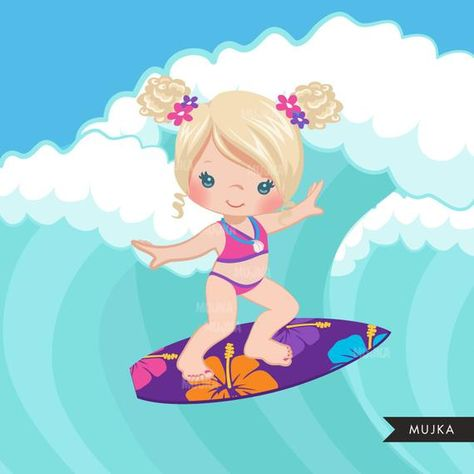 Surfer girls clipart surfing characters african american | Etsy
