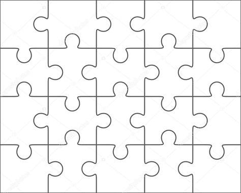 Descargar - Plantilla en blanco 4 x 5, veinte piezas de rompecabezas — Ilustración de Stock