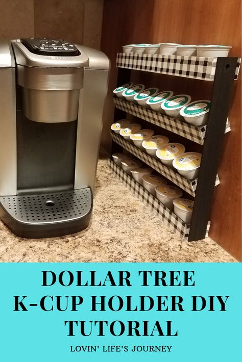 I made this tall, slim k-cup stand on a small budget using items from Dollar Tree. It's a perfect space saver small kitchens as it hardly takes up any counter space at all!