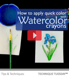 How To Use Watercolor Crayons With The Iris Stamp Technique