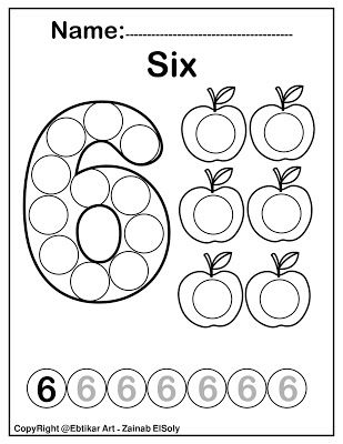 Number Six 6 Dot Marker Coloring Page Activity Apple Counting