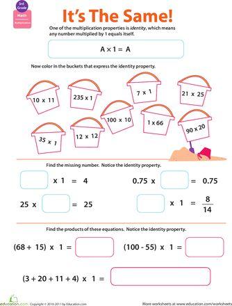 Properties Of Multiplication Identity Worksheet Education Com Math Properties Properties Of Multiplication Math Workbook