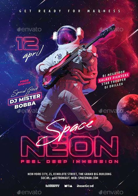 Download the Neon Space Party Flyer Template - PSD | FFFLYER