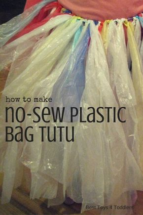 Make something that will entertain your kids without any money spent - plastic bag tutu! Easy craft and no sewing required!