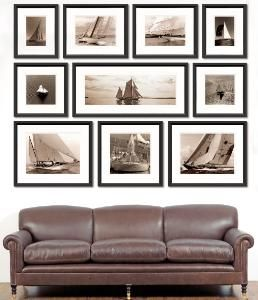 This set of ten sepia prints can be framed in either a classic black or  white wood frame and is taken from Wood's best sailing shots. Product in p