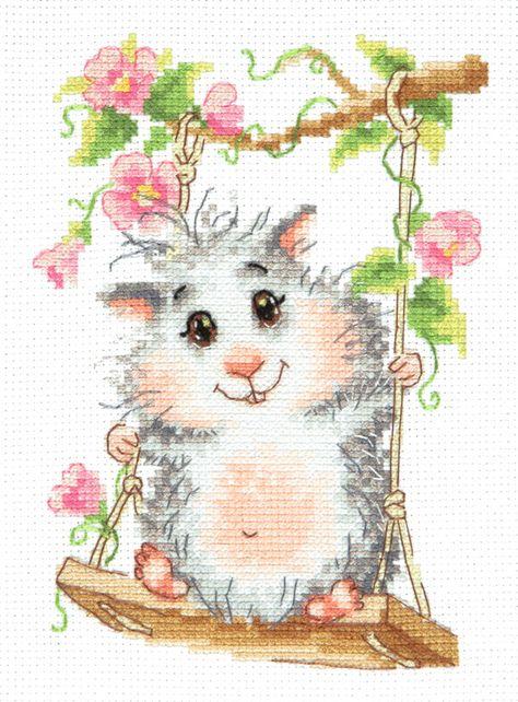 19-17 art Cross Stitch Kit What/'s the matter? hamster