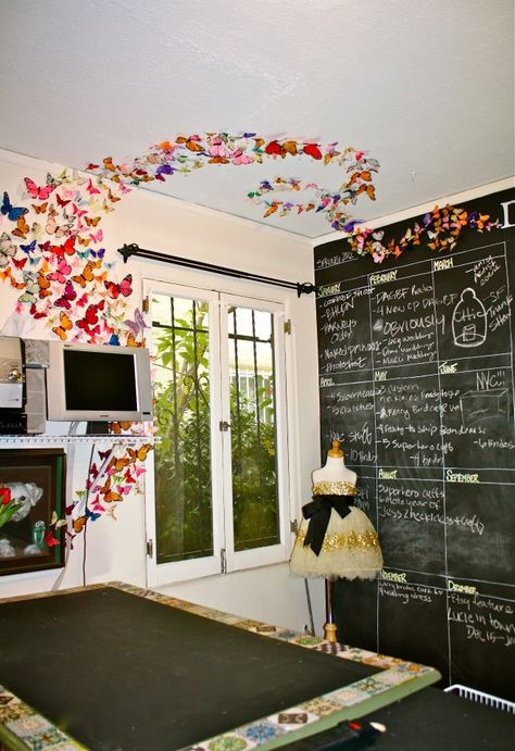 want a butterfly explosion in my studio! and chalkboard wall