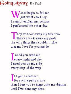 Missing my man in jail poems