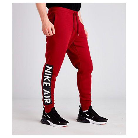 NIKE MEN'S AIR FLEECE JOGGER PANTS, RED