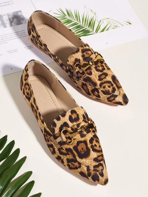 Horsebit Decor Leopard Loafers