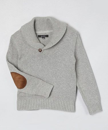 Love this Gray Shawl Collar Elbow Patch Sweater - Toddler & Boys by GIL & JAS on #zulily! #zulilyfinds