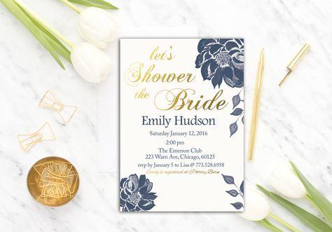 Printable Navy Floral Bridal Shower Invitation Template | Gold Bridal Shower Invitation | Instant Download | PDF | Script | Navy White | DIY