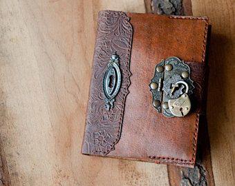 Leather Journal Handmade Diary Key Vintage Lock Medieval Old Padlock Custom Initials Personalized Handmade Diary Handmade Leather Journal Leather Journal