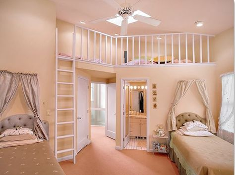 Love the stacked pillow ideas, the headboards and the curtains over the bed! The Upper play area is Awesome, as well!
