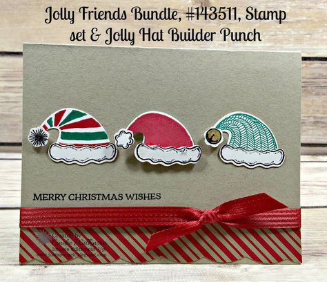 Just Sponge It: Jolly Friends Hat  Card, Jolly Friends Bundle, Santa's Sleigh, Candy Cane Lane Designer Series Paper, Best Badge Punch, Wink of Stella, Christmas, DIY, Stampin' Up!