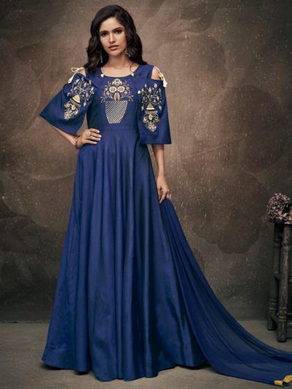 789b2d3b78b Dark Blue Taffeta Silk Embroidered Party Gown in 2019 | The DIWALI ...