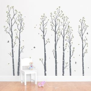 Young Birch Forest Wall Decal Birch Tree Wall Decal Nursery