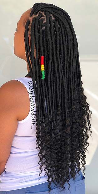 43 ways to pull off goddess faux locs page 4 of 4 stayglam blackpromhairstyles Faux Locs Marley Hair, Curly Faux Locs, Faux Braids, Twist Braids, Twists, Box Braids Hairstyles, Twist Hairstyles, Elegant Hairstyles, Protective Hairstyles