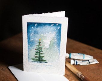 Watercolor Christmas Cards Set Of 3 Each One Hand Painted Christmas Tree Watercolour Tree Watercolor Christmas Cards Christmas Watercolor Watercolor Cards
