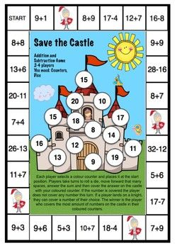 Save The Castle Addition And Subtraction Game Addition And Subtraction Subtraction Games Printable Math Games Maths games worksheets year 4