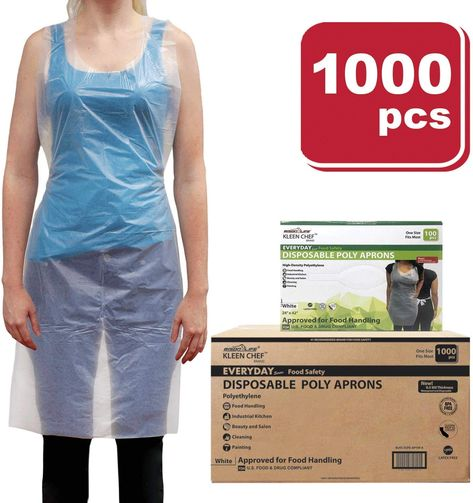 Disposable Food Handling Light Weight Poly Aprons One Size Fits Most 1000 Pieces Food Handling Employee Clothing Disposable