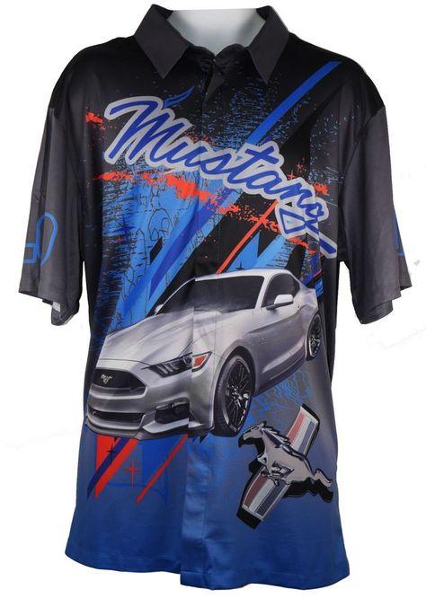 Ford Pit Shirt by David Carey Ford Mustang Car Racing Pit Button Down Shirt M-3X