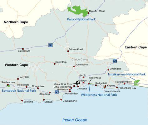 Kaarten Kaart Regio Route Garden Route Tuinroute Zuid Afrika