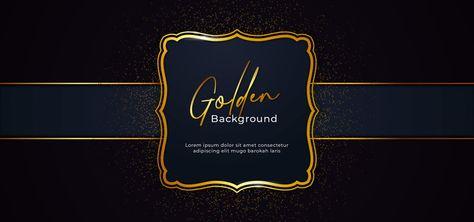 Moldura Dourada Brilhante Cintilante Com Efeito De Decoracao Glitter Dourados Sobre Fundo De Papel Azul Escuro Com Fita Vector Ilustracao Cartaz Banner Modelo D Latar Belakang Kertas Ilustrasi Poster Spanduk