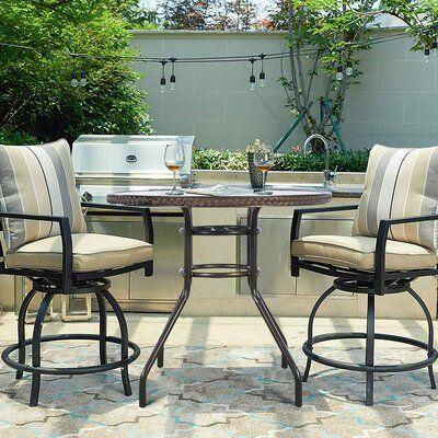 Red Barrel Studio Aavyan Bistro Table In 2021 Bar Height Patio Set Bistro Patio Set Patio Chairs