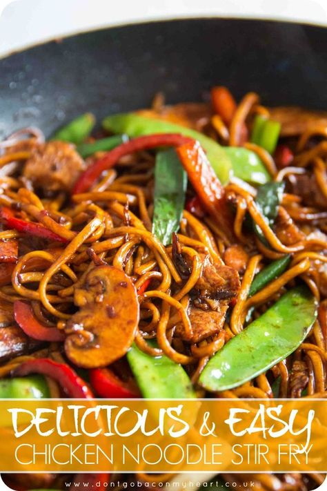 Stir fry is the perfect quick fix mid week dinner! Here I give you all the tips and tricks you need to create the most mouthwateringly delicious, and most importantly Easy Chicken Noodle Stir Fry! #dinner #stirfry #noodle #chicken | www.dontgobaconmyheart.co.uk